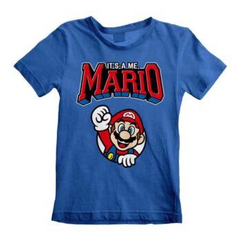 Super Mario Kindershirt blauw – It's Me Mario!